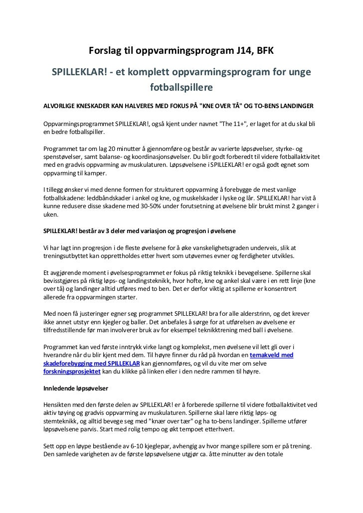 Forslag til oppvarmingsprogram J14, BFK   SPILLEKLAR! - et komplett oppvarmingsprogram for unge                       fotb...