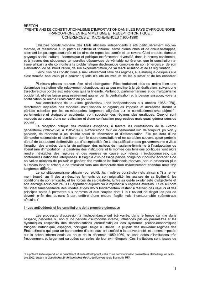1 BRETON TRENTE ANS DE CONSTITUTIONALISME D'IMPORTATION DANS LES PAYS D'AFRIQUE NOIRE FRANCOPHONE ENTRE MIMETISME ET RECEP...