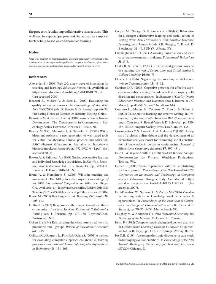 Collaborative Teaching Wikipedia ~ Using a wiki to evaluate individual contribution