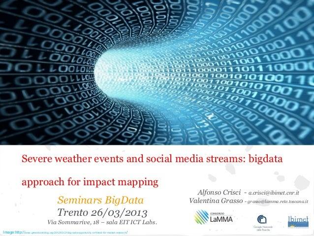 Seminars BigDataTrento 26/03/2013Via Sommarive, 18 – sala EIT ICT Labs.Alfonso Crisci - a.crisci@ibimet.cnr.itValentina Gr...