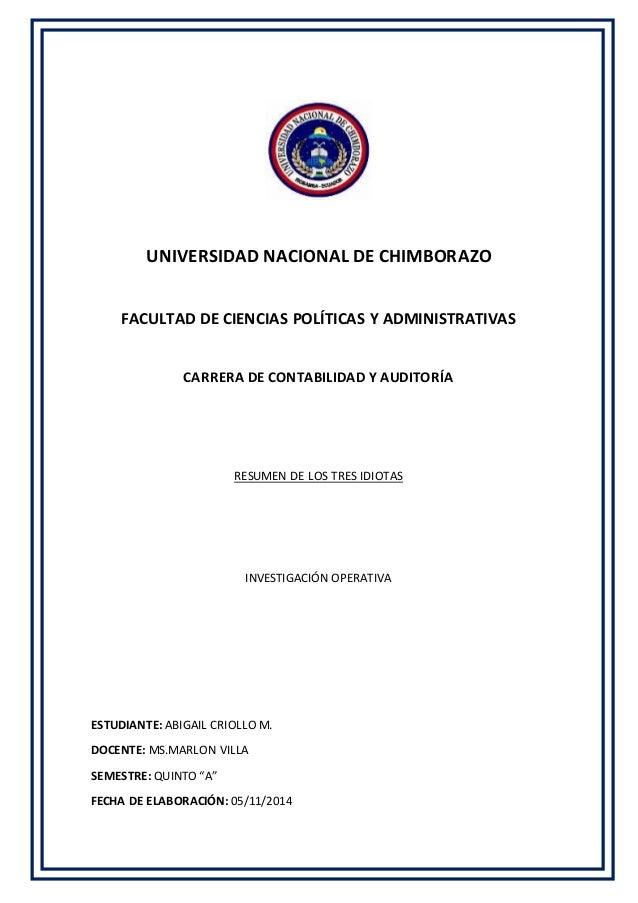 UNIVERSIDAD NACIONAL DE CHIMBORAZO  FACULTAD DE CIENCIAS POLÍTICAS Y ADMINISTRATIVAS  CARRERA DE CONTABILIDAD Y AUDITORÍA ...