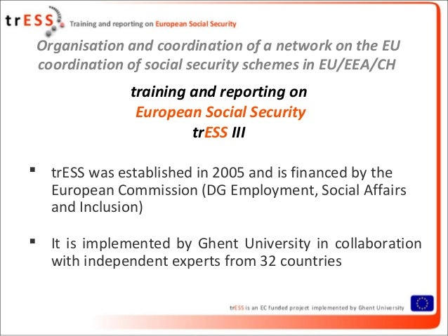 Organisation and coordination of a network on the EUcoordination of social security schemes in EU/EEA/CHtraining and repor...