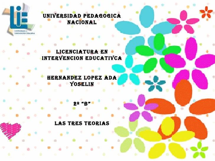 """UNIVERSIDAD PEDAGOGICA NACIONAL LICENCIATURA EN INTERVENCION EDUCATIVCA HERNANDEZ LOPEZ ADA YOSELIN 2º """"B"""" LAS TRES TEORIAS"""