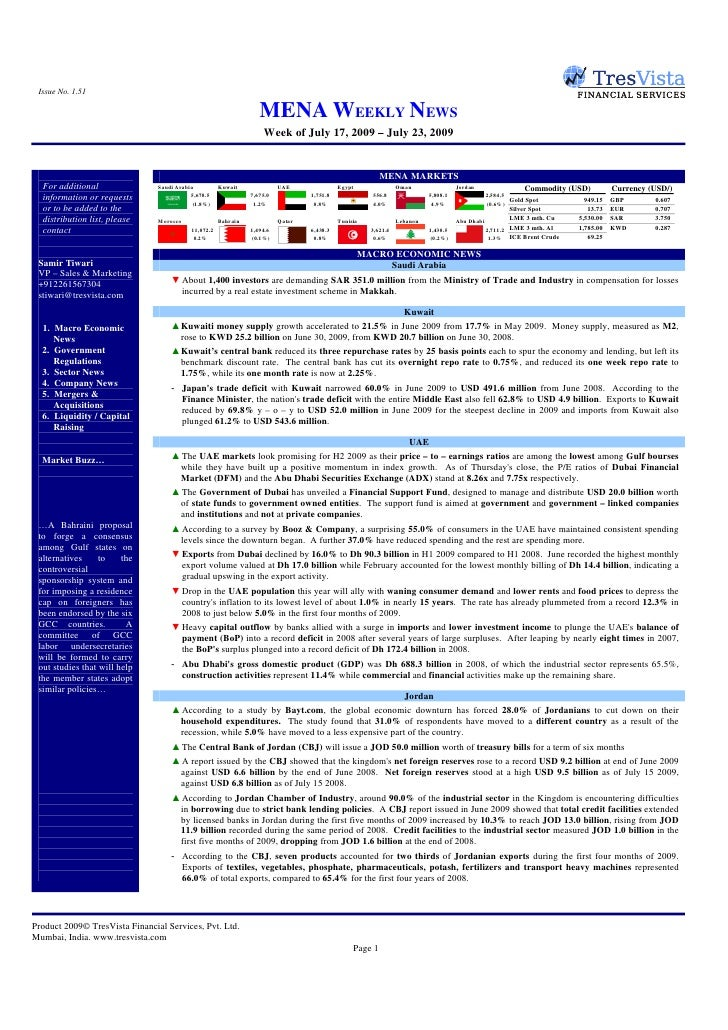 Issue No. 1.51                                                                     MENA WEEKLY NEWS                       ...