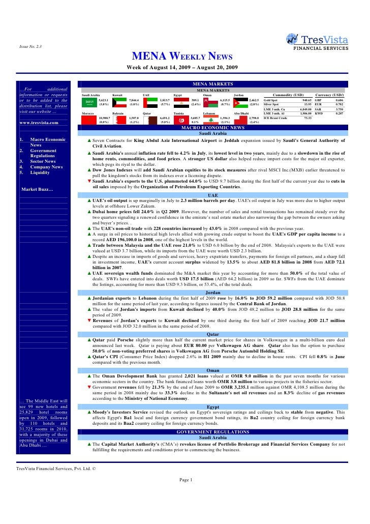 Issue No. 2.3                                                                    MENA WEEKLY NEWS                         ...
