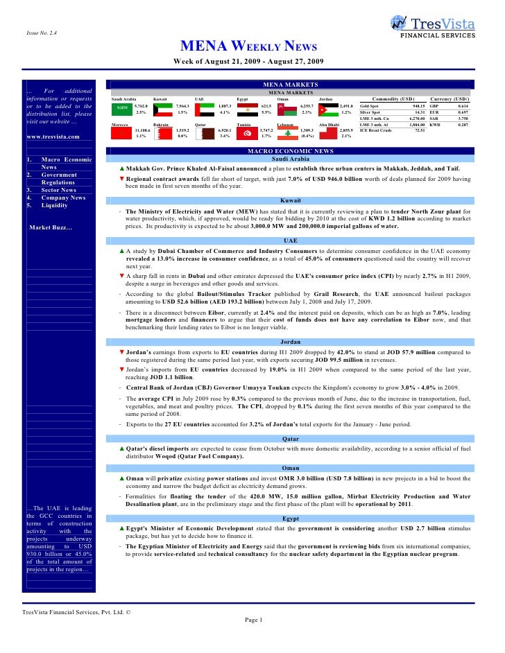Issue No. 2.4                                                                     MENA WEEKLY NEWS                        ...