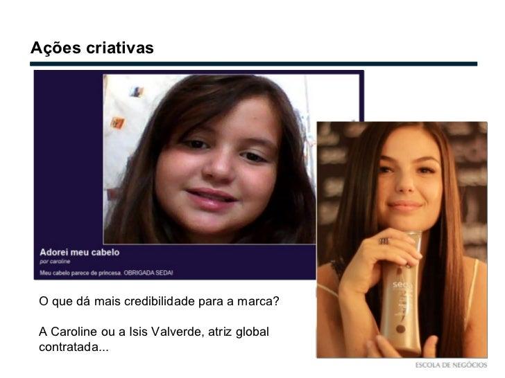 Ações criativas O que dá mais credibilidade para a marca? A Caroline ou a Isis Valverde, atriz global contratada...