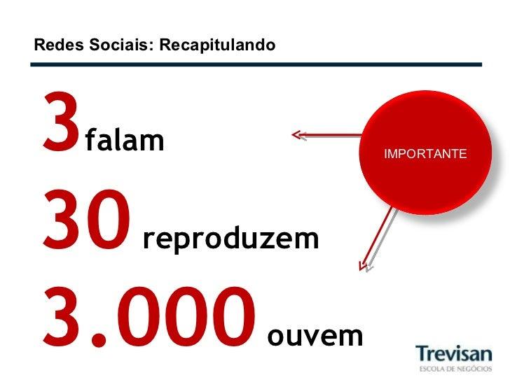 Redes Sociais: Recapitulando 3 falam 30   reproduzem 3.000   ouvem IMPORTANTE