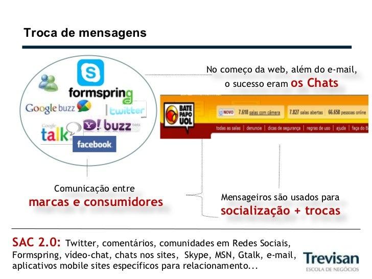 Troca de mensagens SAC 2.0:  Twitter, comentários, comunidades em Redes Sociais,  Formspring, vídeo-chat, chats nos sites,...