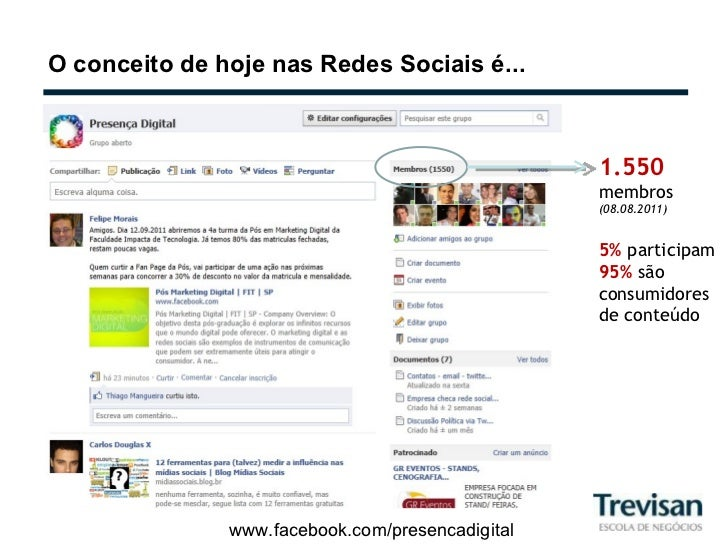 O conceito de hoje nas Redes Sociais é... www.facebook.com/presencadigital 1.550  membros (08.08.2011) 5%  participam 95% ...