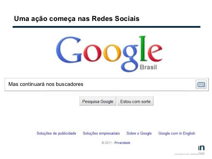 Uma ação começa nas Redes Sociais Mas continuará nos buscadores