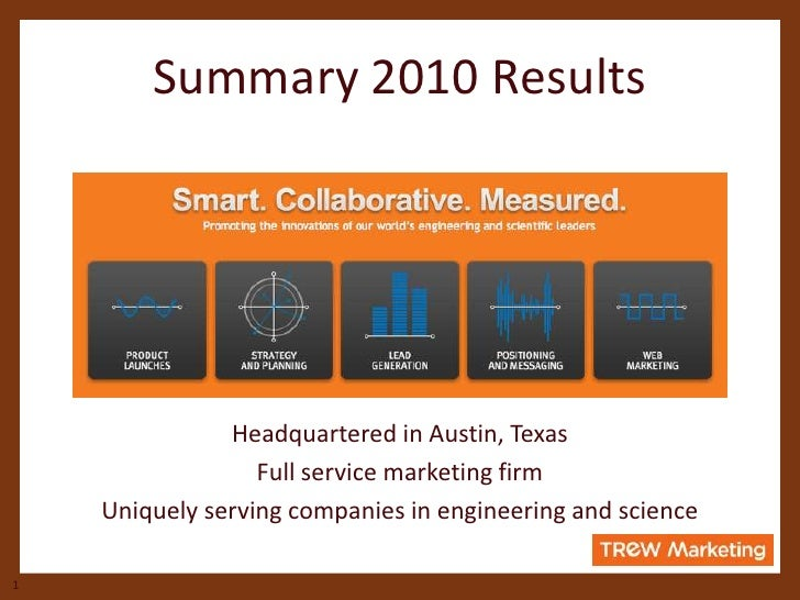 Summary 2010 Results <br />Headquartered in Austin, Texas<br />Full service marketing firm <br />Uniquely serving companie...