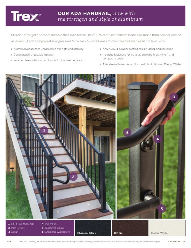 Charcoal Black Sturdier, stronger and more durable than ever before, Trex® ADA compliant handrails are now made from powde...