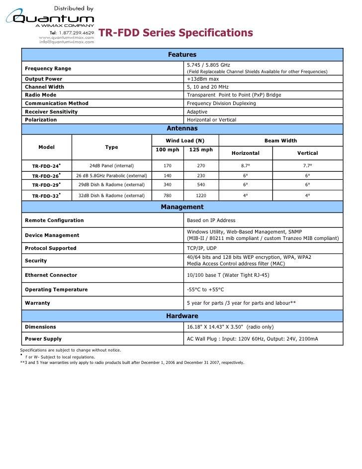 TR-FDD Series Specifications                                                                                              ...