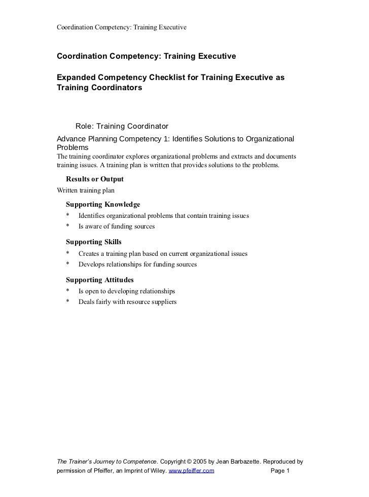 Coordination Competency: Training Executive    Coordination Competency: Training Executive  Expanded Competency Checklist ...