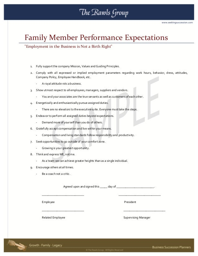 Family Business Issues - Sample Family Member Performance Expectations