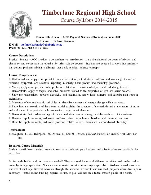 1  Timberlane Regional High School  Course Syllabus 2014-2015  Course title & level: ACC Physical Science (Blocked) – cour...