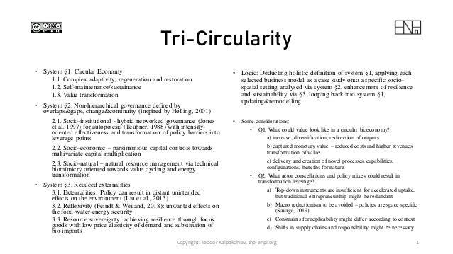 Tri-Circularity • System §1: Circular Economy 1.1. Complex adaptivity, regeneration and restoration 1.2. Self-maintenance/...