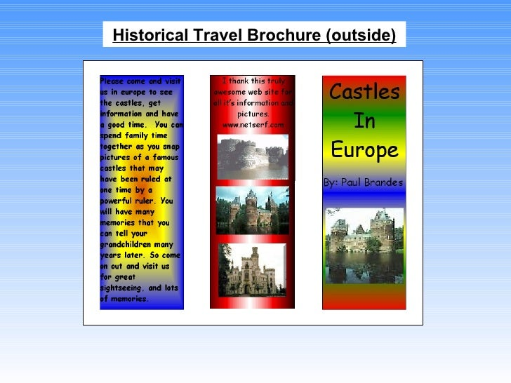 historical travel brochure outside