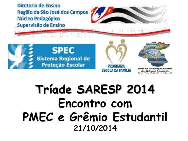 Tríade SARESP 2014  Encontro com  PMEC e Grêmio Estudantil  21/10/2014