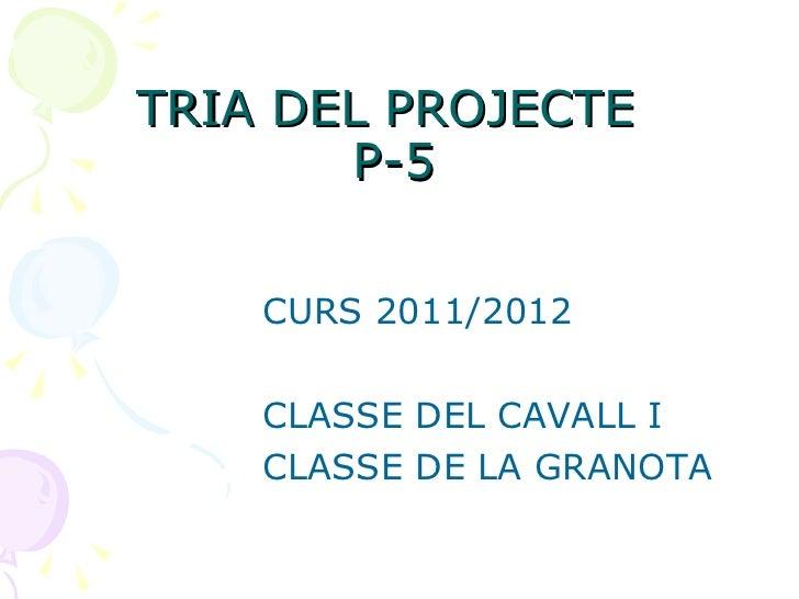 TRIA DEL PROJECTE  P-5 <ul><li>CURS 2011/2012 </li></ul><ul><li>CLASSE DEL CAVALL I  </li></ul><ul><li>CLASSE DE LA GRANOT...