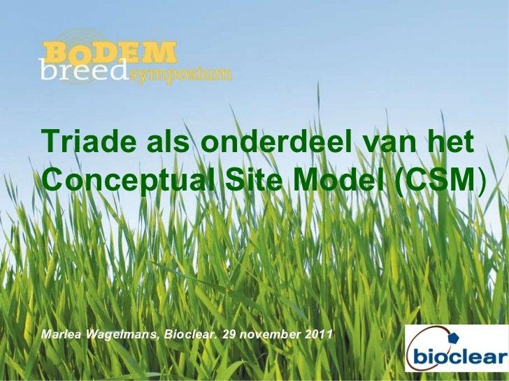 Triade als onderdeel van het Conceptual Site Model (CSM ) Marlea Wagelmans, Bioclear. 29 november 2011