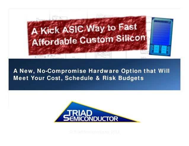 A New, No-Compromise Hardware Option that Will Meet Your Cost, Schedule & Risk Budgets ©TriadSemiconductor2013