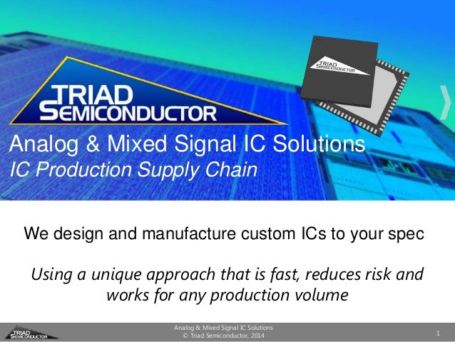 Analog & Mixed Signal IC Solutions IC Production Supply Chain We design and manufacture custom ICs to your spec Using a un...