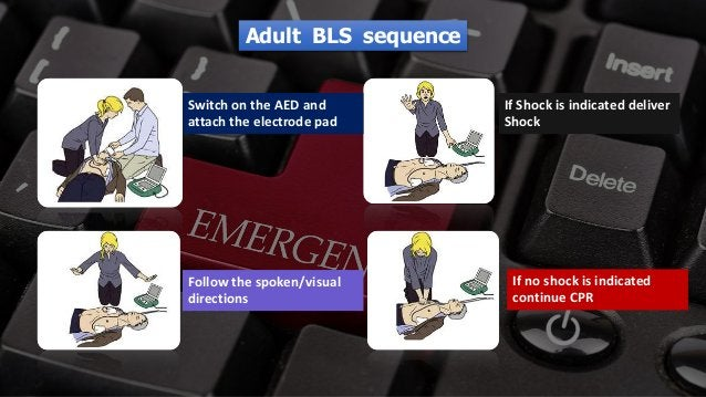 Free PowerPoint Templates Switch on the AED and attach the electrode pad Follow the spoken/visual directions If Shock is i...