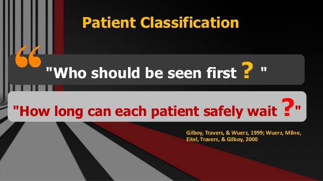 """Patient Classification Free PowerPoint Templates """"Who should be seen first ? """" """"How long can each patient safely wait ?"""" G..."""