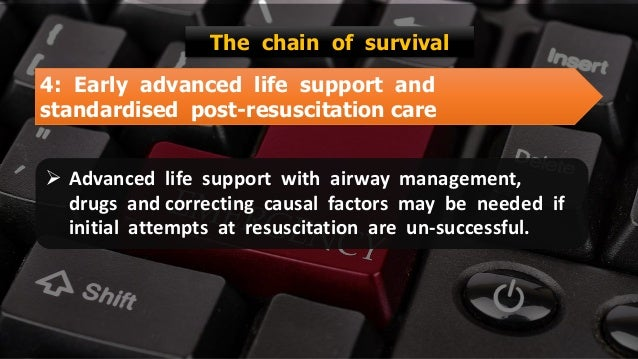 Free PowerPoint Templates 4: Early advanced life support and standardised post-resuscitation care The chain of survival  ...