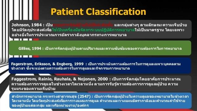 Patient Classification Free PowerPoint Templates Johnson, 1984 : เป็ นระบบการจัดผู้ป่ วยให้เป็ นระดับชั้น และกลุ่มต่างๆ ตา...