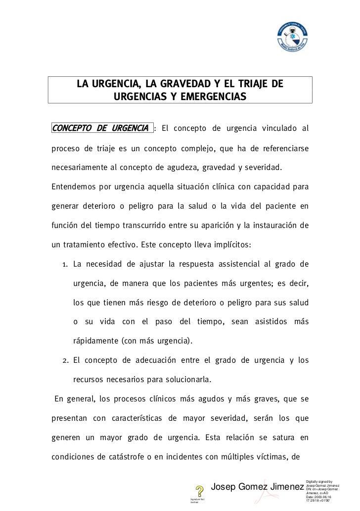 LA URGENCIA, LA GRAVEDAD Y EL TRIAJE DE             URGENCIAS Y EMERGENCIASCONCEPTO DE URGENCIA : El concepto de urgencia ...