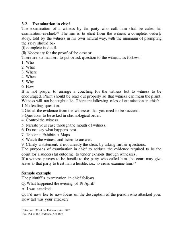Trial & Rules Regarding Examination In Chief/Cross
