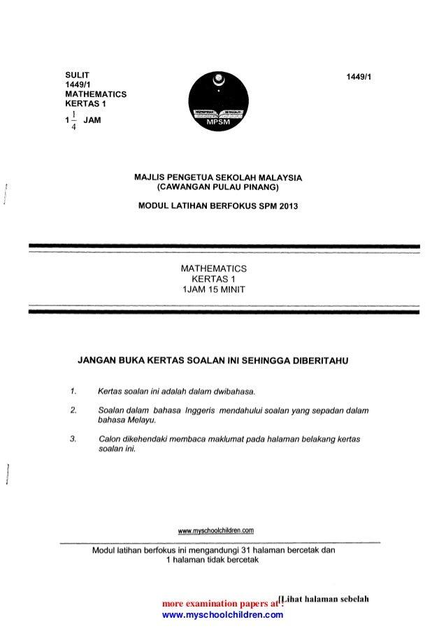 SULIT 1449t1 MATHEMATICS KERTAS 1 I 1^ JAM 4 1449t1 MAJLIS PENGETUA SEKOLAH MALAYSIA (CAWANGAN PULAU PTNANG) MODUL LATIHAN...