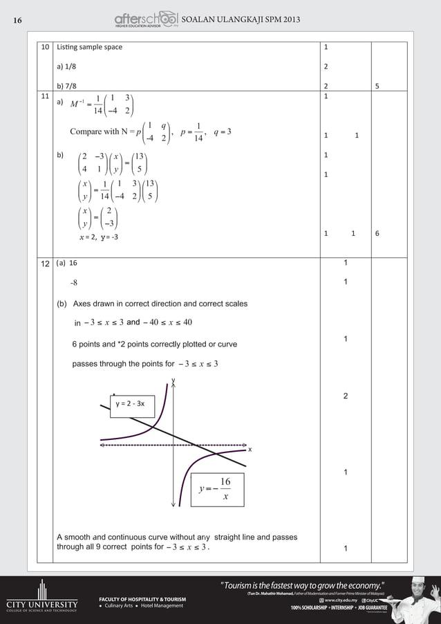 SOALAN ULANGKAJI SPM 201316 10 a) 1/8 b) 7/8 1 2 2 5 11 a) b) = 2, y= -3 1 1 1 1 1 1 1 6 (a) 16 -8 (b) Axes drawn in corre...