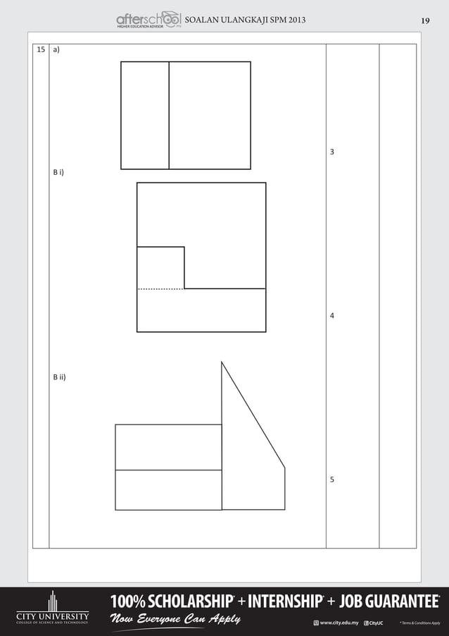 SOALAN ULANGKAJI SPM 2013 19 15 a) B i) B ii) 3 4 5