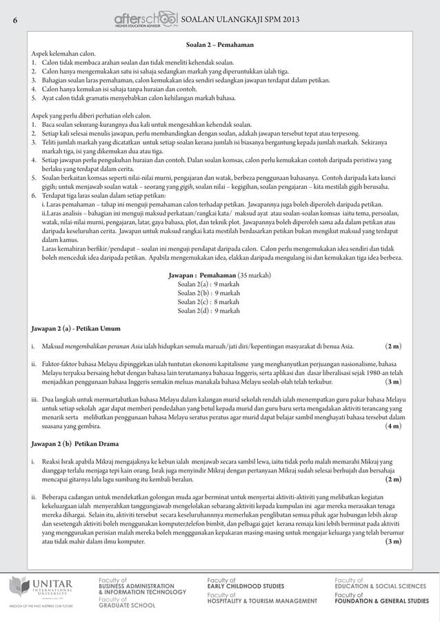SOALAN ULANGKAJI SPM 20136 Soalan 2 – Pemahaman Aspek kelemahan calon. 1. Calon tidak membaca arahan soalan dan tidak men...