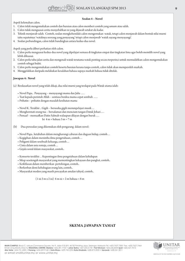 SOALAN ULANGKAJI SPM 2013 9 Soalan 4 – Novel Aspek kelemahan calon. 1. Calon tidak mengemukakan contoh dan huraian atau c...