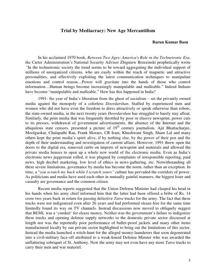 Trial by Mediacracy: New Age Mercantilism                                                                            Barun...