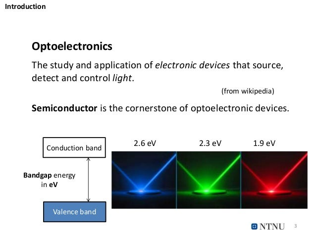 3 Optoelectronics The study and application of electronic devices that source, detect and control light. (from wikipedia) ...