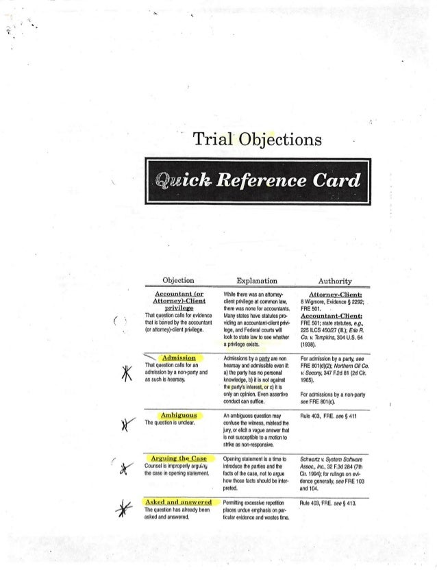 Sullivan - Trial Objections