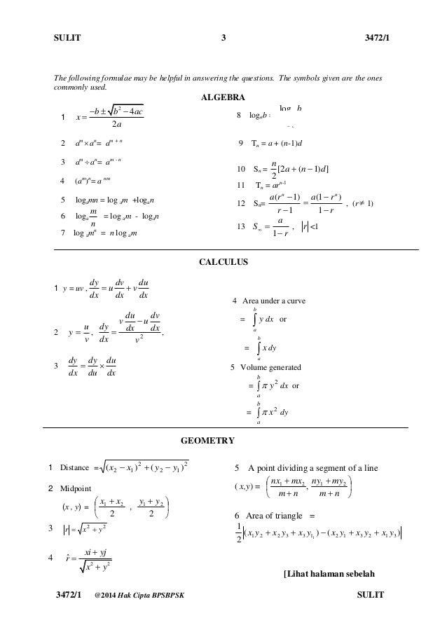 Kertas Soalan Matematik Tambahan Spm I Soalan