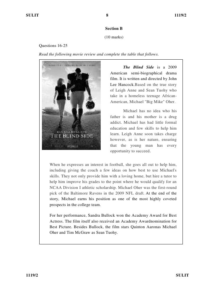 the blind side movie critique essay