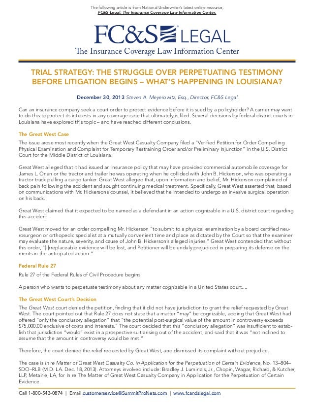 The following article is from National Underwriter's latest online resource, FC&S Legal: The Insurance Coverage Law Inform...