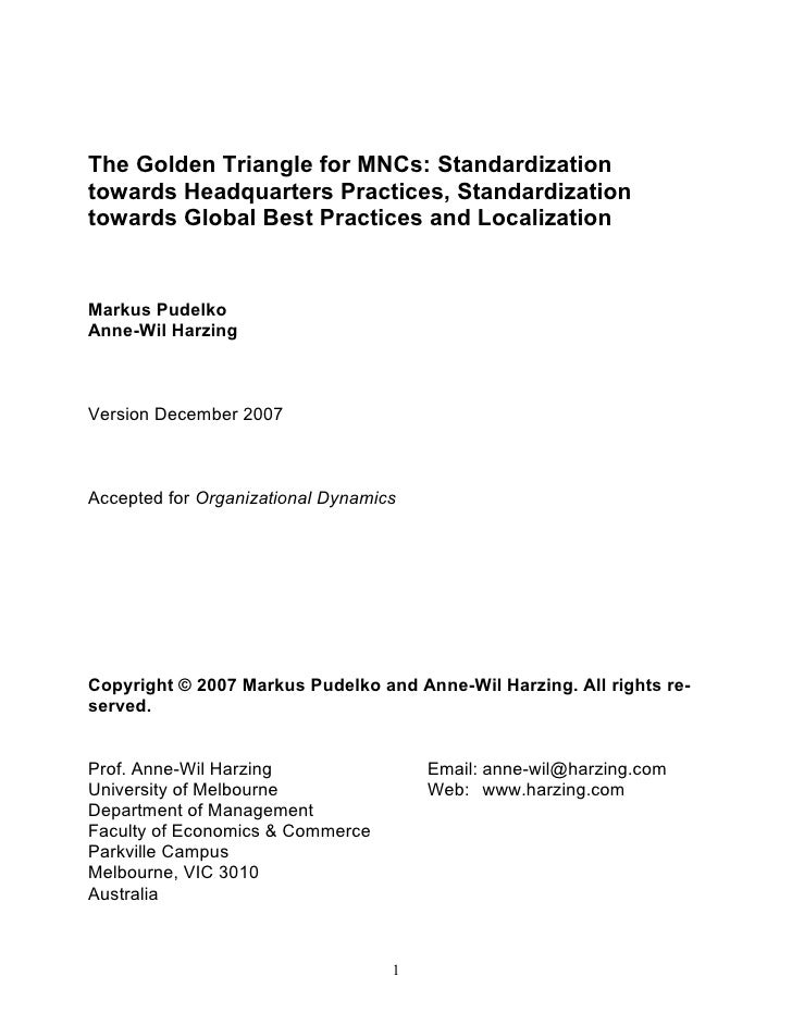 The Golden Triangle for MNCs: Standardization towards Headquarters Practices, Standardization towards Global Best Practice...