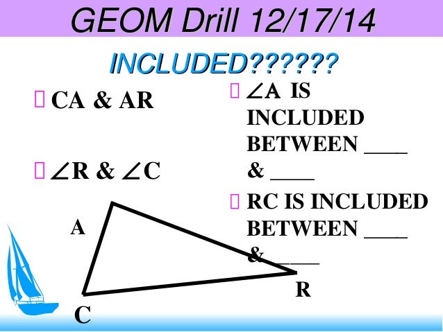 INCLUDED??????INCLUDED?????? CA & AR ∠R & ∠C ∠Α IS INCLUDED BETWEEN ____ & ____ RC IS INCLUDED BETWEEN ____ & _____ C A R ...