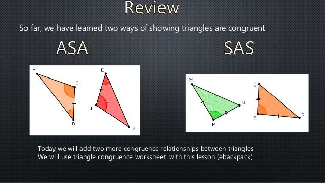 Triangle congruence relations aas and sss