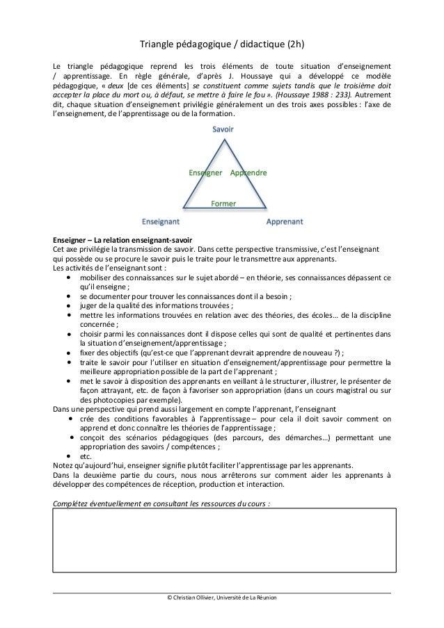 Triangle pédagogique / didactique (2h)Le triangle pédagogique reprend les trois éléments de toute situation d'enseignement...