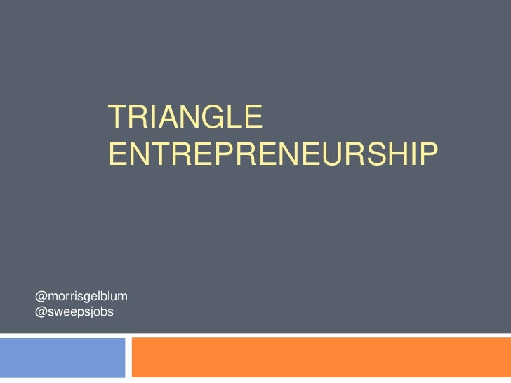 TRIANGLE          ENTREPRENEURSHIP@morrisgelblum@sweepsjobs